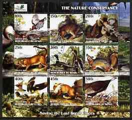 Benin 2003 The Nature Conservancy perf sheetlet containing set of 9 values (Birds & Animals by John Audubon) fine cto used