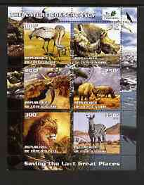 Ivory Coast 2003 The Nature Conservancy perf sheetlet containing set of 6 values (Animals) fine cto used