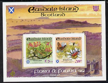 Easdale 1988 Flora & Fauna definitive imperf sheetlet containing 52p (Butterfly & Insects) & .10 (Shrubs) unmounted mint