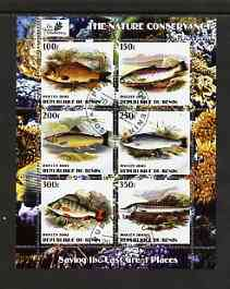 Benin 2003 The Nature Conservancy perf sheetlet containing set of 6 values (Fish) fine cto used