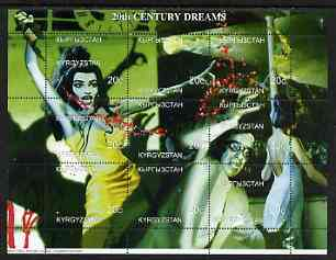 Kyrgyzstan 1999 20th Century Dreams #01 composite perf sheetlet containing 9 values unmounted mint (Maria Callas, Aristotle Onassis & Jackie Kennedy)