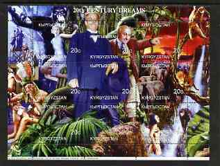 Kyrgyzstan 1999 20th Century Dreams #02 composite perf sheetlet containing 9 values unmounted mint (Fay Wray, King Kong, Albert Schweittzer, Cecil B de Mille, Maureen O'Sullivan & Johnny Weissmuller)