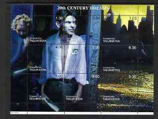 Tadjikistan 1999 20th Century Dreams #02 composite perf sheetlet containing 9 values unmounted mint (Frank Sinatra)
