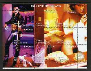 Turkmenistan 1999 20th Century Dreams #03 composite perf sheetlet containing 9 values unmounted mint (Prince (pop singer) & Princess Diana in erotic pose)