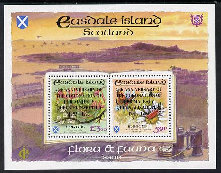 Easdale 1993 40th Anniversary of Coronation overprinted in black on Flora & Fauna perf sheetlet containing 52p (Butterfly & Insects) & \A33.10 (Shrubs) unmounted mint