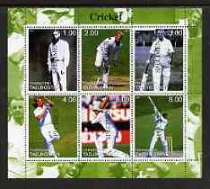 Tadjikistan 2000 Cricket perf sheetlet containing 6 values unmounted mint each opt'd SPECIMEN