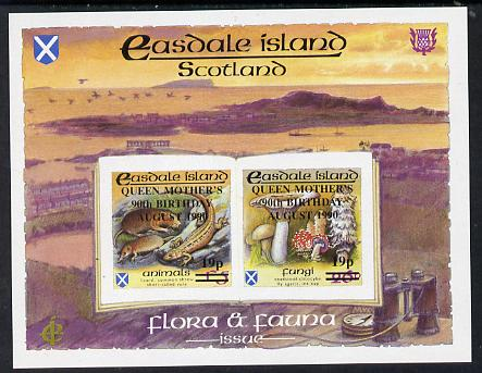 Easdale 1990 90th Birthday of Queen Mother overprinted on Flora & Fauna definitive imperf sheetlet containing 19p on 26p (Fungi) & 19p on \A35 (Animals) unmounted mint