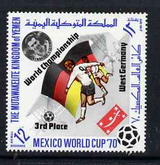 Yemen - Royalist 1970 World Cup Football 12b value (Germany Mi 982) (perf diamond shaped) opt'd 'World Championship West Germany 3rd Place' in black unmounted mint*