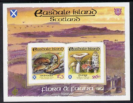 Easdale 1988 Flora & Fauna definitive imperf sheetlet containing 26p (Fungi) &  (Animals) overprinted SPECIMEN unmounted mint