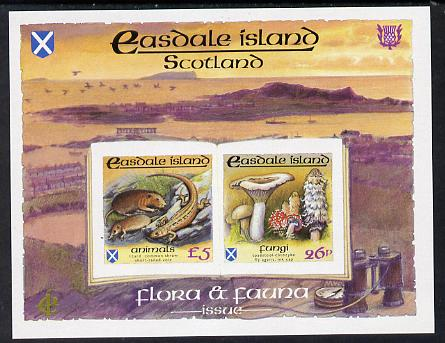 Easdale 1988 Flora & Fauna definitive imperf sheetlet containing 26p (Fungi) &  (Animals) unmounted mint