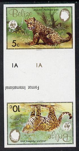 Belize 1983 WWF - Jaguar 5c & 10c in imperf se-tenant tete-beche gutter pair unmounted mint (SG 756-7)