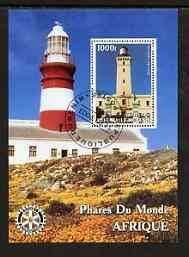 Benin 2003 Lighthouses of Africa perf m/sheet #01 with Rotary Logo fine cto used