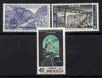 Mexico 1961 Chihuahua Railway set of 3 unmounted mint, SG 995-7