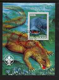 Benin 2003 Dinosaurs perf m/sheet #02 with Scout Logo fine cto used