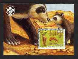 Benin 2003 Wild Animals perf m/sheet #01 (Deer) with Scout Logo fine cto used