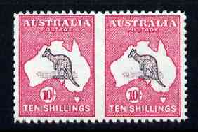 Australia 1913 Roo 10s horiz pair imperf between being a