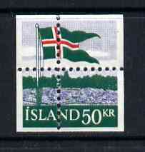 Iceland 1958 40th Anniversary of Flag 50k with misplaced perfs such that stamp is quartered, being a 'Hialeah' forgery on gummed paper (as SG 359)