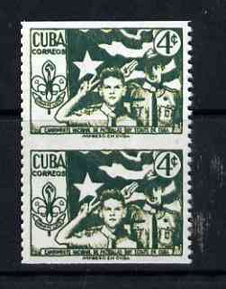 Cuba 1954 3rd National Scout Camp 4c vert pair with horiz perfs omitted being a 'Hialeah' forgery on gummed paper (as SG 721)