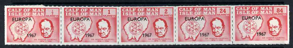 Calf of Man 1967 Europa 1967 overprinted on Churchill rouletted set of 5 in red (Rosen CA90-94) unmounted mint