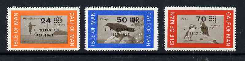 Calf of Man 1966 Kennedy first issue surch set of 3 on bird defs unmounted mint (Rosen CA47-49)