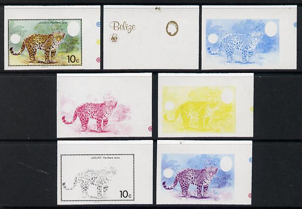 Belize 1983 WWF - Jaguar 10c (Adult Jaguar) x 7 imperf progressive proofs comprising the 5 individual colours plus 2 different combination composites, unmounted mint (7 proofs as SG 757)
