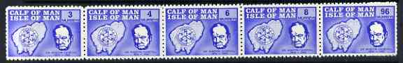 Calf of Man 1967 Churchill & Map def set of 5 (first issue in blue) unmounted mint P10 (Rosen CA72-76)