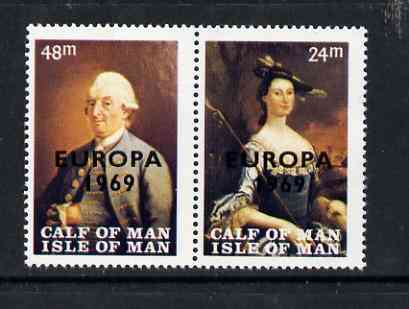 Calf of Man 1969 Europa overprinted on Paintings from Manx Museum #1 perf set of 2 unmounted mint (Rosen CA145-46)
