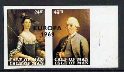 Calf of Man 1969 Europa overprinted on Paintings from Manx Museum #1 imperf set of 2 unmounted mint (Rosen CA145a-46a)