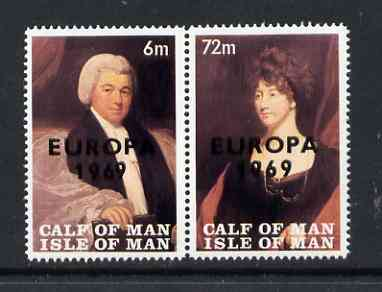 Calf of Man 1969 Europa overprinted on Paintings from Manx Museum #2 perf set of 2 unmounted mint (Rosen CA147-48)