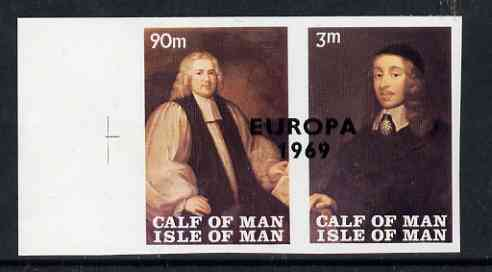 Calf of Man 1969 Europa overprinted on Paintings from Manx Museum #3 imperf set of 2 unmounted mint (Rosen CA149a-50a)