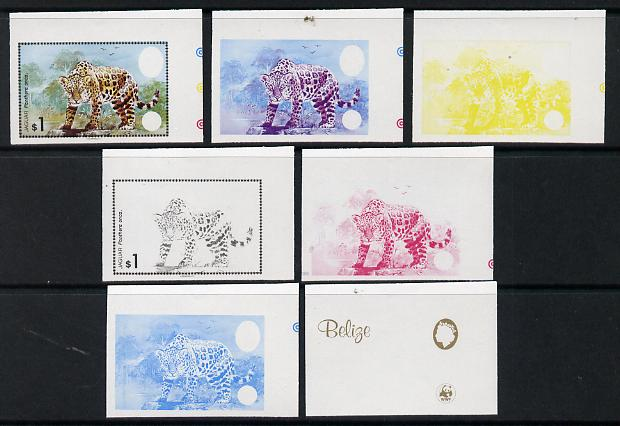 Belize 1983 WWF - Jaguar $1 (Jaguar on rock) x 7 imperf progressive proofs comprising the 5 individual colours plus 2 different combination composites, unmounted mint (7 ...