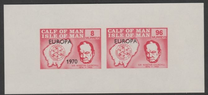 Calf of Man 1970 Europa opt'd on Churchill & Map imperf m/sheet (8m & 96m in red) with date missing from 96m unmounted mint (Rosen CA186MSa), stamps on europa, stamps on churchill, stamps on maps