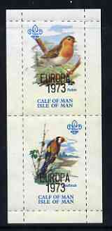 Calf of Man 1973 Europa opt'd on Birds rouletted m/sheet (showing 10m Robin & 45m Goldfinch) unmounted mint with Scout logo, Rosen CA314MS