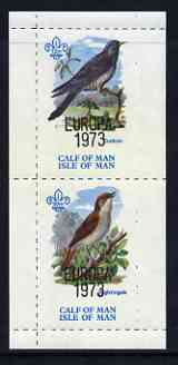 Calf of Man 1973 Europa opt'd on Birds rouletted m/sheet (showing 12m Cuckoo & 50m Nightingale) unmounted mint with Scout logo, Rosen CA315MS