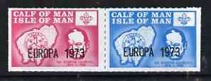 Calf of Man 1973 Europa opt'd on Churchill & Map (with Scout Logo) rouletted set of 2 unmounted mint (Rosen CA293-94)