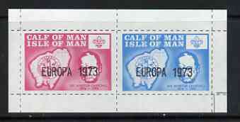 Calf of Man 1973 Europa opt'd on Churchill & Map (with Scout Logo) rouletted m/sheet unmounted mint (Rosen CA295MS)