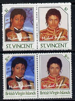 British Virgin Islands 1985 Michael Jackson $1.50 Unissued perf unmounted mint se-tenant pair - this issue was rejected by the Queen as only living Royalty may be depicted on BVI stamps.  The design was ultimately used for St Vincent which is included.  Very few BVI exist