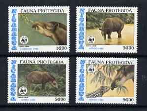 Nicaragua 1985 WWF Endangered Animals (Baird's Tapir) perf set of 4 unmounted mint, SG 2714-17