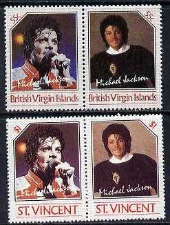 British Virgin Islands 1985 Michael Jackson 55c Unissued perf unmounted mint se-tenant pair - this issue was rejected by the Queen as only living Royalty may be depicted on BVI stamps.  The design was ultimately used for St Vincent which is included.  Very few BVI exist