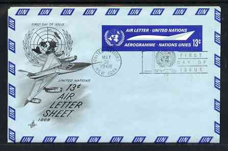 Aerogramme - United Nations (NY) 1968 Illustrated 13c Air Letter Sheet with NY First Day Cancel (illustrated with Jet aircraft), stamps on aviation