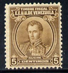 Venezuela 1922 Fiscal General Sucre 5c brown unmounted mint