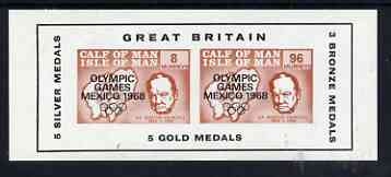 Calf of Man 1968 Olympic Games Mexico overprinted on Churchill imperf m/sheet additionally opt