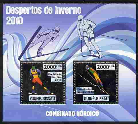 Guinea - Bissau 2010 Winter Olympic Sports - Nordic Combined perf sheetlet containing 2 values in silver unmounted mint