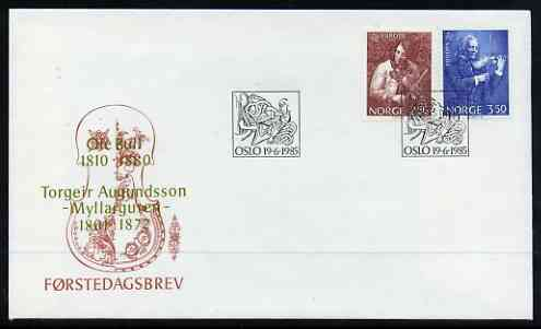 Norway 1985 Europa - Music Year set of 2 on illustrated cover with first day cancel, SG 956-57