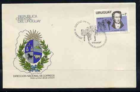Uruguay 1983 150th Death Anniversary of Goethe (writer) on illustrated cover with first day special cancel, SG 1821