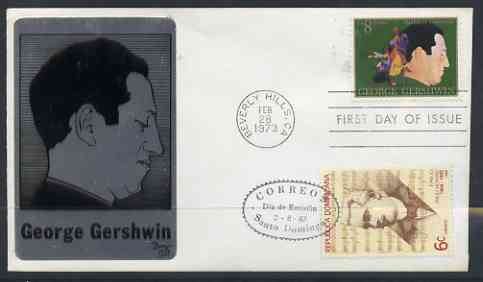 United States 1973 American Arts Commemoration - George Gershwin (composer) on metal plaque cover with first day Beverly Hills cancel double used with Dominican Republic Emilio Prud'Homme stamp with first day cancel (only 30 such covers produced), stamps on , stamps on  stamps on entertainments, stamps on  stamps on composers, stamps on  stamps on music
