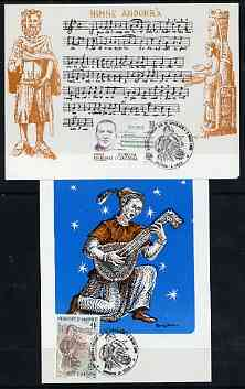 Andorra - Spanish 1985 Europa - Music Year perf set of 2 each on Official Europa Postcard with special first day cancels