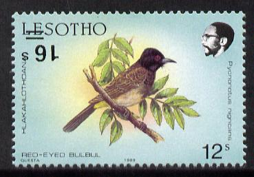 Lesotho 1990 Red-eyed Bulbul Provisional 16s on 12s with surcharge inverted unmounted mint, SG 948a*