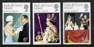 Turks & Caicos Islands 1977 Silver Jubilee perf set of 3 unmounted mint, SG 472-74