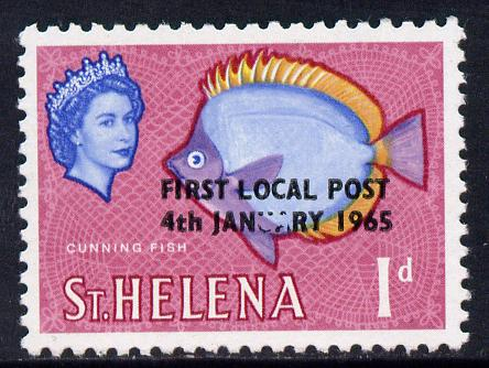 St Helena 1965 Local Post 1d (Lace background) unmounted mint single with 'Damaged UA' SG 193 V4